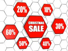 Christmas sale and percentages in red hexagons buttons Stock Illustration