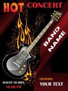 Guitar vector music festival background - stock illustration