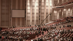 LDS Mormon Conference Center crowd seats Christmas program HD 0440 Stock Footage
