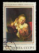 """USSR - CIRCA 1973: Stamp printed in USSR, shows Rembrandt, """"youn Stock Photos"""