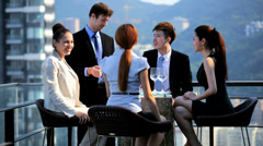 Young Multi Ethnic Share Brokers Tablet Office Rooftop Toast Stock Footage