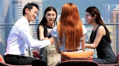 Ambitious Business Associates Rooftop Restaurant Success - stock footage
