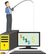 Businessman fishing dollars - stock illustration