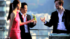 Happy Multi Ethnic Advertising Executives Celebrating Rooftop Bar Stock Footage
