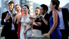 Multi Ethnic Corporate Business Partners Drinks Outdoors - stock footage