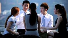 Young Multi Ethnic Share Brokers Tablet Success Office Rooftop Stock Footage