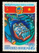 USSR - CIRCA 1980: a stamp printed by USSR, International space - stock photo