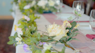 Stock Video Footage of Wedding Party table, trucking