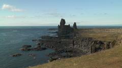 Scenic coastline on reykjanes peninsula in iceland Stock Footage