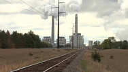 Stock Video Footage of Power Plant With RR Track