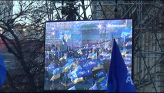 rally at European political opponents Maidan Square - stock footage