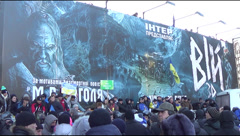Rally at European political opponents Maidan Square Stock Footage