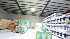 Factory storage warehouse goods for global export, China Stock Footage