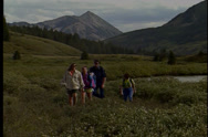 Stock Video Footage of Group of people on a hike in Crested Butte.