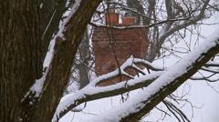Winter Scenes Chimney CU Stock Footage