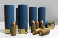 Stock Illustration of shotgun and pistol cartridges