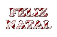 Stock Illustration of feliz natal - happy holidays in candy cane colors