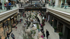 Mall shoppers family fun slow motion HD 0265 Stock Footage