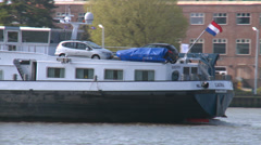 cars on dutch cargo riverboat - Rotterdam - stock footage