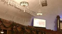Morman Tabernacle organ choir seats pan HD 0312 Stock Footage