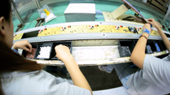 View of PCB boards being factory assembled, China Stock Footage