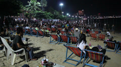 People are waiting show on the Pattaya International Fireworks Festival 2013 Stock Footage
