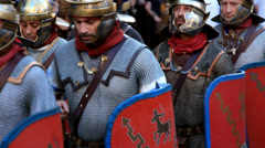 Roman army 46 (marching) Stock Footage