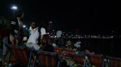 People after show on the Pattaya International Fireworks Festival - stock footage