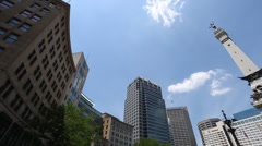 High Angle Buildings, Trees, Monuments, Skyline Stock Footage