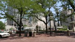 Driving through town, Monument Circle, Indianapolis Stock Footage