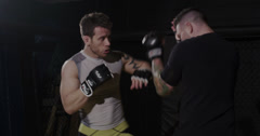 Mixed Martial Arts Fighters in the Ring Stock Footage