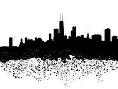 Chicago skyline grunge siluetti kuva Piirros