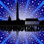 Washington dc skyline reflected with snow burst illustration Stock Illustration