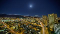 Cityscape full moon rising landscape time lapse, HDR, Honolulu, Hawaii Stock Footage