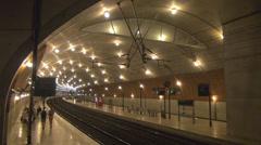 Tilt train station Monaco Ville railroad tube commute luxury architecture tube  Stock Footage