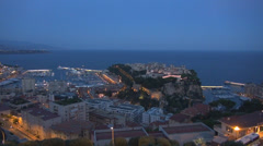 Famous Monaco Cote d'Azur aerial view panorama luxury yacht port sea twilight  Stock Footage
