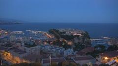 Famous Monaco Cote d'Azur aerial view panorama luxury yacht port sea twilight  - stock footage