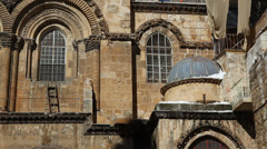 Snow in Church of the Holy Sepulchre Sepulcher Jerusalem, Israel Stock Footage