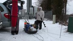Let's go ice fishing Stock Footage