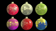 Christmas Balls Set with alpha matte Stock Footage