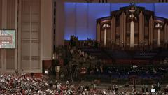 Mormon LDS Conference Center Christmas Event pan HD 0451 Stock Footage