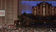 Stock Video Footage of Mormon LDS Conference Center Christmas Event pan HD 0451