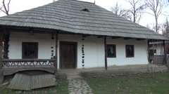 Traditional romanian village, old white houses, architecture, open air museum Stock Footage