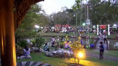 Rama ix park festival 2013 - Busy Footbridge (59-1) Stock Footage