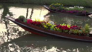 Stock Video Footage of Rama ix park festival 2013 - Flower seller in boat (54)