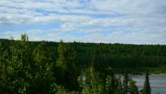 Pan Left, Green Trees, Forest, Stream, and Distant Mountains Stock Footage