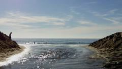 Aliso Creek Meets Ocean- Aliso Beach County Park- Laguna Beach CA Stock Footage