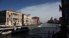 Venice Accademia Bridge looking towards St Marks Timelapse Stock Footage