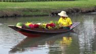 Stock Video Footage of Rama ix park festival 2013 - Flower seller in boat (47-1)