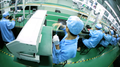 Chinese worker factory production of PCBs, Mainland China - stock footage
